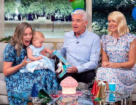 Phillip Schofield and Holly Willoughby with Sharon Marshall and daughter