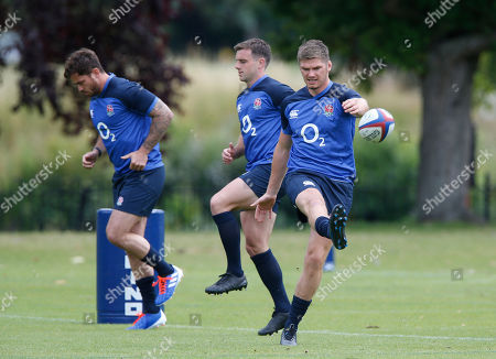 Owen Farrell (right) kicks a ball as Danny Cipriani and George Ford jog behind him