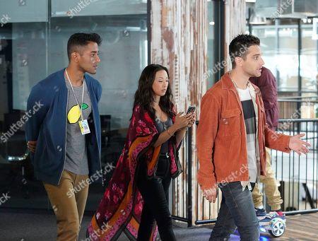 Stock Image of Shainu Bala as Trevor Khan, Maurissa Tancharoen as Sequoia and Jeff Ward as Deke Shaw