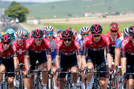 Colombia's Egan Arley Bernal Gomez (C) of team Ineos in action among the pack of riders in action during the 4th stage of the 106th edition of the Tour de France cycling race over 213,5km between Reims and Nancy, France, 09 July 2019.