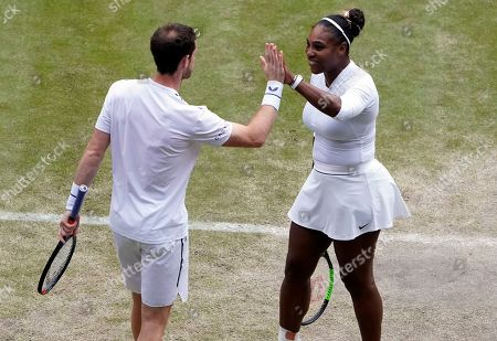 Andy Murray (L) of Britain and Serena Williams of the US during their second round mixed doubles match against Fabrice Martin of France and Raquel Atawo of USA at the Wimbledon Championships at the All England Lawn Tennis Club, in London, Britain, 09 July 2019.