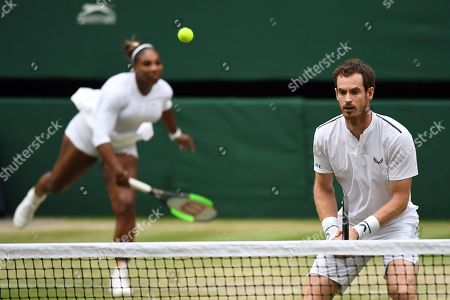 Andy Murray of Britain and Serena Williams of the US during their second round mixed doubles match against Fabrice Martin of France and Raquel Atawo of USA at the Wimbledon Championships at the All England Lawn Tennis Club, in London, Britain, 09 July 2019.