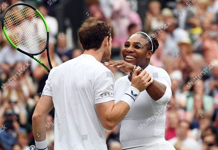 Andy Murray of Britain and Serena Williams of the US celebrate winning their second round mixed doubles match against Fabrice Martin of France and Raquel Atawo of USA at the Wimbledon Championships at the All England Lawn Tennis Club, in London, Britain, 09 July 2019.