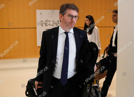 Emmanuel Moyne the Lawyer of Saudi Princess Hassa bint Salman arrives at courthouse in Paris, France, . Princess Hassa bint Salman the sister of the Crown Prince Mohammed bin Salman of Saudi Arabia faces a verdict Tuesday in a French trial over the alleged beating of a workman who was refurbishing her ultra-luxury apartment in Paris