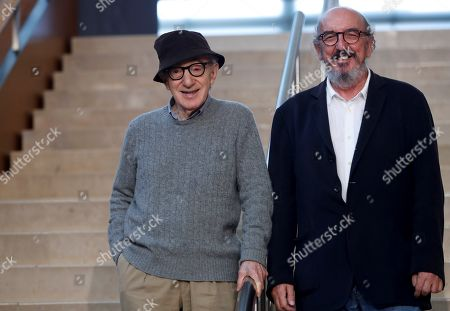 Woody Allen (L) and Spanish producer Jaume Roures (R) attend a press conference in San Sebastian, Spain, 09 July 2019. Allen is set to begin shooting his new movie in San Sebastian from 10 July to 23 August.