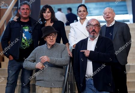 US filmmaker Allen (front, L), Spanish producer Jaume Roures (front, R) and actors/cast members Elena Anaya (2-R), Wally Shawn (back, R), Gina Gershon (back 2, L) and Sergi Lopez (back-L) attend a press conference in San Sebastian, Spain, 09 July 2019. Allen is set to begin shooting his new movie in San Sebastian from 10 July to 23 August.