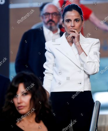 Elena Anaya reacts during a press conference on the filming of US filmmaker Woody Allen's (unseen) new movie in San Sebastian, Spain, 09 July 2019. Allen is set to begin shooting his new movie in San Sebastian from 10 July to 23 August.