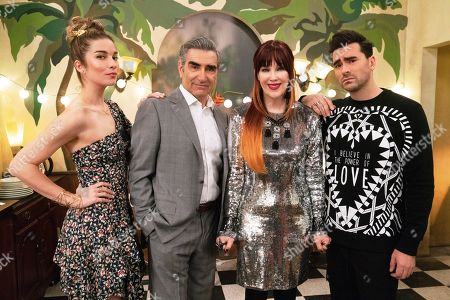 Annie Murphy as Alexis Rose, Eugene Levy as Johnny Rose, Catherine O'Hara as Moira Rose and Daniel Levy as David Rose