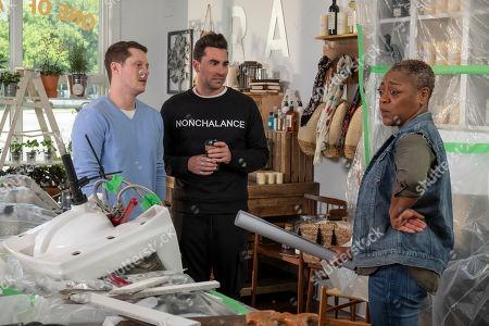 Noah Reid as Patrick Brewer, Daniel Levy as David Rose and Karen Robinson as Ronnie Lee