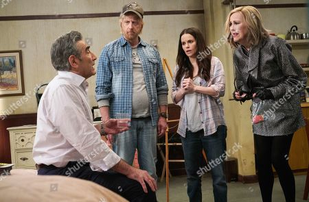 Eugene Levy as Johnny Rose, Chris Elliott as Roland Schitt, Emily Hampshire as Stevie Budd and Catherine O'Hara as Moira Rose