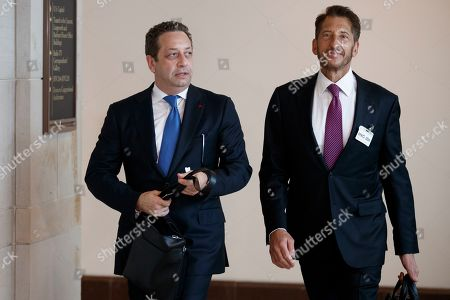 Former business associate of President Donald J. Trump, Felix Sater (L), with his attorney Robert Wolf (R), arrives to testify before the House Intelligence Committee In the US Capitol in Washington, DC, USA, 09 July 2019. Sater was the chief negotiator on the Trump Tower Moscow project.