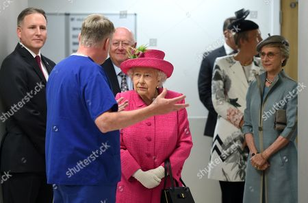 Stock Picture of Queen Elizabeth II and the Duchess of Gloucester during a visit to Royal Papworth Hospital