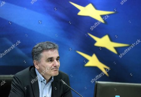 Outgoing Finance Minister Euclid Tsakalotos looks on during a handover ceremony at the Finance Ministry in Athens, Greece, 09 July 2019. The center-right New Democracy party won the general elections in Greece on 07 July and formed a majority government.