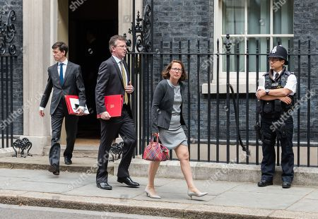 Secretary of State for International Development Rory Stewart (L), Secretary of State for Digital, Culture, Media and Sport Jeremy Wright (2L) and Leader of the House of Lords and Lord Privy Seal Baroness Natalie Evans (3L) leave 10 Downing Street in London after the weekly Cabinet meeting.