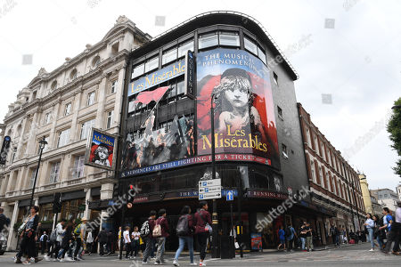 A view of The Queen's Theatre in London, Britain, 09 July 2019. The West End theatre is to be renamed after US composer and lyricist Stephen Sondheim in December 2019.