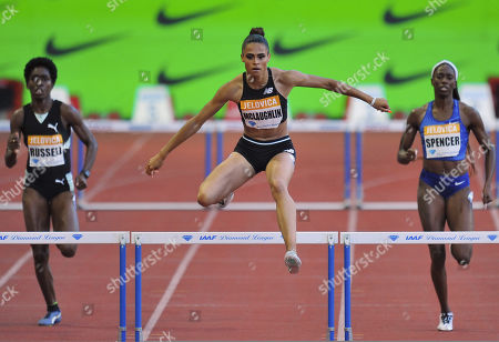 l-r; Janieve Russell, Jamaica, Sydney McLaughlin USA, Ashley Spencer, USA - 400m Hurdles Women