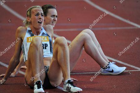 l-r; Scotland's Lynsey Sharp and Laura Muir are beaten at the Monaco Diamond League meeting