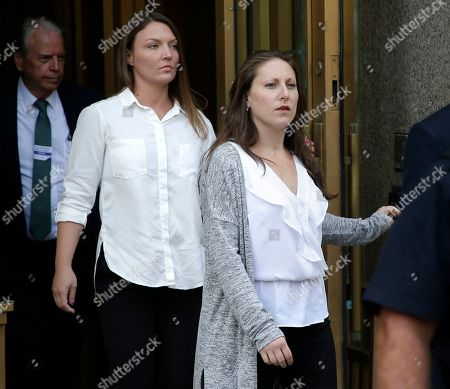 Stock Photo of Courtney Wild, Michelle Licata. Michelle Licata, right, and Courtney Wild, left, leave federal court after wealthy financier Jeffrey Epstein appeared for his arraignment in New York. Licata and Wild, two of Epstein's accusers, say they feel empowered after he was charged with sex trafficking and conspiracy charges. Epstein pleaded not guilty to the charges and will remain jailed until at least July 15 when a bail hearing is set on the case