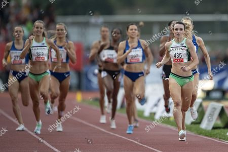 Sarah McDonald, right, from Great Britain during the Women 800m race at the International Athletics Meeting in Lucerne, Switzerland, Tuesday, July 9, 2019.