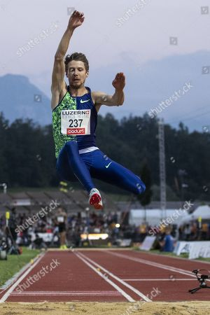 Fabian Heinle of Germany competes in the men's long jump event at the International Athletics Meeting in Lucerne, Switzerland, on Tuesday, July 9, 2019.