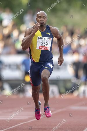 Stock Photo of Asafa Powell from Jamaica during the Men 100m race at the International Athletics Meeting in Lucerne, Switzerland, 09 July 2019.