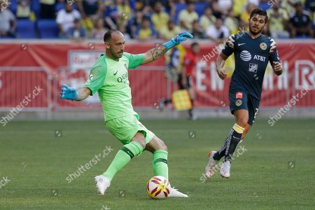 Boca Juniors goalkeeper Marcos Diaz (12) during the first half of a Colossus Cup soccer match against Club America in Harrison, N.J