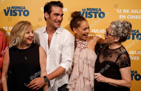Stock Image of Carmen Machi, Jon Kortajerena, Montse Pea and Kiti Manver pose for the photographers during the premiere of the film 'The never seen' in Madrid, Spain, 09 July 2019.