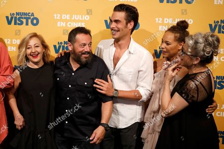 Carmen Machi, Pepon Nieto, Jon Kortajerena, Montse Pla and Kiti Manver pose for the photographers during the premiere of the film 'The never seen' in Madrid, Spain, 09 July 2019.