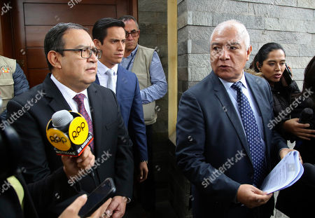 "Alberto Otarola, Wilfredo Pedraza. Wilfredo Pedraza, right, and Alberto Otarola, lawyers representing former President Ollanta Humala and wife Nadine Heredia, speak to reporters after their clients' home was searched by police in Lima, Peru, . The former first lady is under investigation as part of the ""Lava Jato"" case, for allegedly receiving bribes from Odebrecht through the ""Gasoducto del Sur"" project, according prosecutors"
