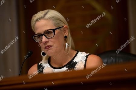 United States Senator Kyrsten Sinema (Democrat of Arizona) listens to the testimony during a Subcommittee on Aviation and Space hearing