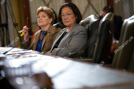 United States Senator Jeanne Shaheen (Democrat of New Hampshire) and United States Senator Mazie Hirono (Democrat of Hawaii) listen to Admiral Craig S. Faller, of the United States Southern Command, testify before the Subcommittee on Emerging Threats and Capabilities
