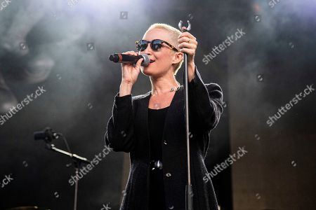 Stock Image of Leah Fay of July Talk performs during the Festival d'ete de Quebec, in Quebec City, Canada