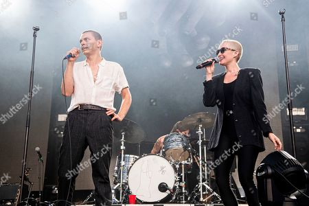 Stock Picture of Peter Dreimanis, Leah Fay. Peter Dreimanis, left, and Leah Fay of July Talk perform during the Festival d'ete de Quebec, in Quebec City, Canada