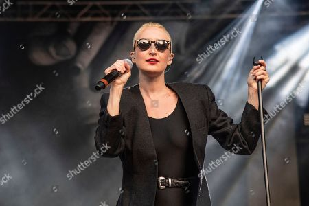 Stock Photo of Leah Fay of July Talk performs during the Festival d'ete de Quebec, in Quebec City, Canada