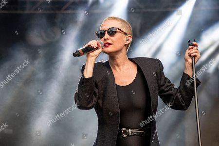 Leah Fay of July Talk performs during the Festival d'ete de Quebec, in Quebec City, Canada