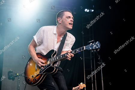 Stock Picture of Peter Dreimanis of July Talk performs during the Festival d'ete de Quebec, in Quebec City, Canada