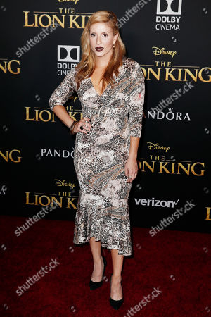Stock Image of Anneliese van der Pol poses on the red carpet prior to the world premiere of 'The Lion King' at the Dolby Theater in Hollywood, California, USA, 09 July 2019. The film will be released in US theaters oExecutive producer Tom Peitzman posesn 19 July.