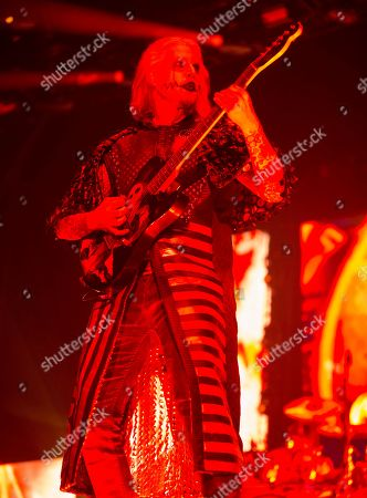 """John 5 performs in concert during the opening night of the """"Twins of Evil Tour"""" at the Royal Farms Arena, in Baltimore"""