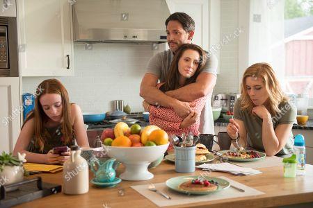 Beatrice Kitsos as Alana, Steve Kazee as Elliott, Alyssa Milano as Gabby and Rebecca Olson as Monroe