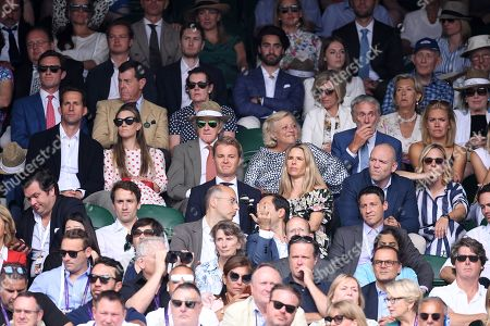 Ben Ainslie and Georgie Thompson, Sir Jackie Stewart, Nico Rosberg and Viviane Sibold, Mike Tindall and Zara Tindall on Centre Court