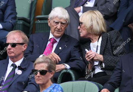 Stock Image of Sir Michael Parkinson and Mary Parkinson in the Royal Box on Centre Court