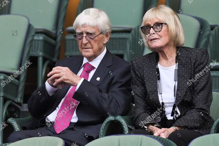 Sir Michael Parkinson and Mary Parkinson in the Royal Box on Centre Court