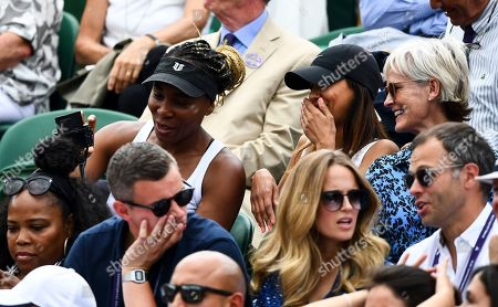 Venus Williams and Judy Murray in the players box on Court 2