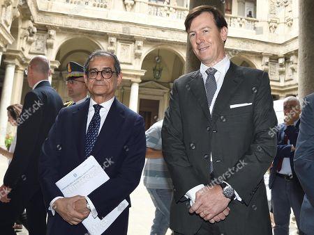 Italian Minister of Economy and Finance Giovanni Tria (L) and CEO of Cassa Depositi e Prestiti Bank Fabrizio Palermo (R) attend the Italy-China Financial Forum 2019, in Milan, Italy, 10 July 2019.