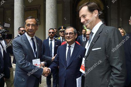 Mayor of Milan Giuseppe Sala (L), Italian Minister of Economy and Finance Giovanni Tria (C) and CEO of Cassa Depositi e Prestiti Bank Fabrizio Palermo (R) attend the Italy-China Financial Forum 2019, in Milan, Italy, 10 July 2019.
