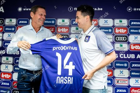 Frank Arnesen and Samir Nasri during the press conference