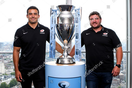 Stock Image of Alex Lozowski, Ian Peel of Saracens, George Furbank and Phil Dowson of Northampton Saints and Les Kiss and Franco Van Der Merwe of London Irish help to launch the 2019/20 Gallagher Premiership Rugby fixtures