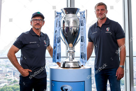Stock Picture of Alex Lozowski, Ian Peel of Saracens, George Furbank and Phil Dowson of Northampton Saints and Les Kiss and Franco Van Der Merwe of London Irish help to launch the 2019/20 Gallagher Premiership Rugby fixtures