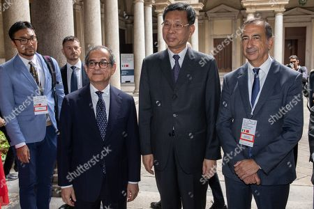 Italian Minister of Economy and Finance Giovanni Tria, Chinese Minister of Finance Liu Kun, Mayor of Milan Giuseppe Sala