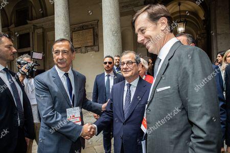 Mayor of Milan Giuseppe Sala (R), Italian Minister of Economy and Finance Giovanni Tria (C) CEO Cassa Depositi e Prestiti Fabrizio Palermo (L)